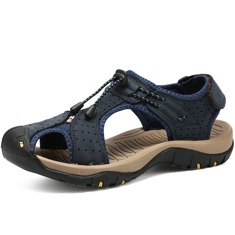 Discount Genuine Leather Summer Beach Male Shoes Casual Sandals