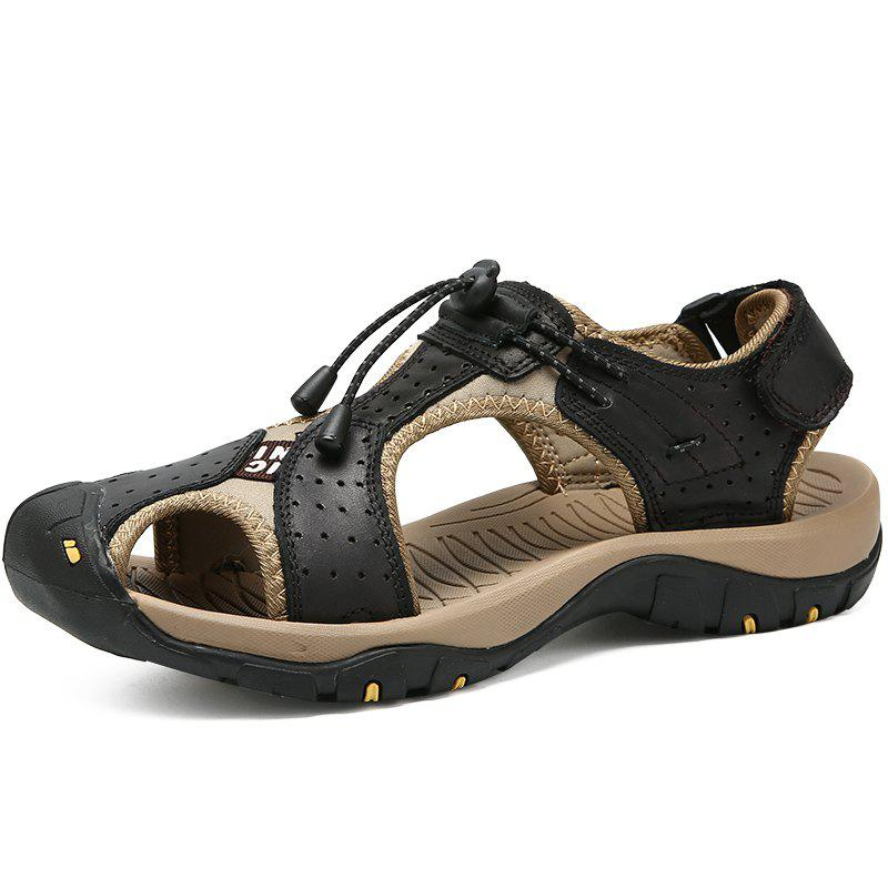Best Genuine Leather Summer Beach Male Shoes Casual Sandals