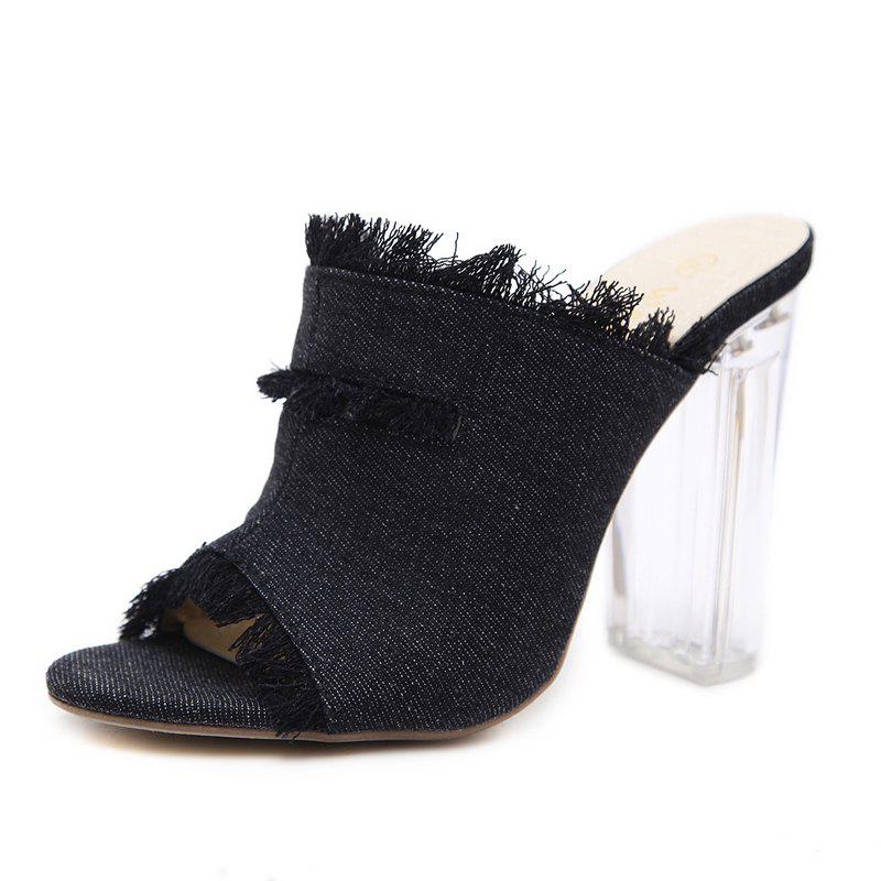 Affordable Women's Peep Toe Square Heel Slippers Fashion Sandals