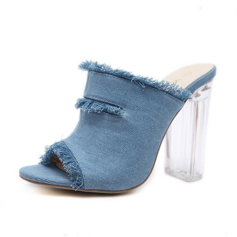 Shop Women's Peep Toe Square Heel Slippers Fashion Sandals