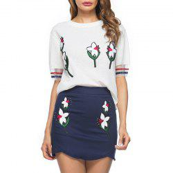 Summer Ladies Embroidered Pin Bead Two Piece Skirt Upper Skirt -