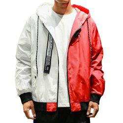 Men Hooded Colorblock Jacket -