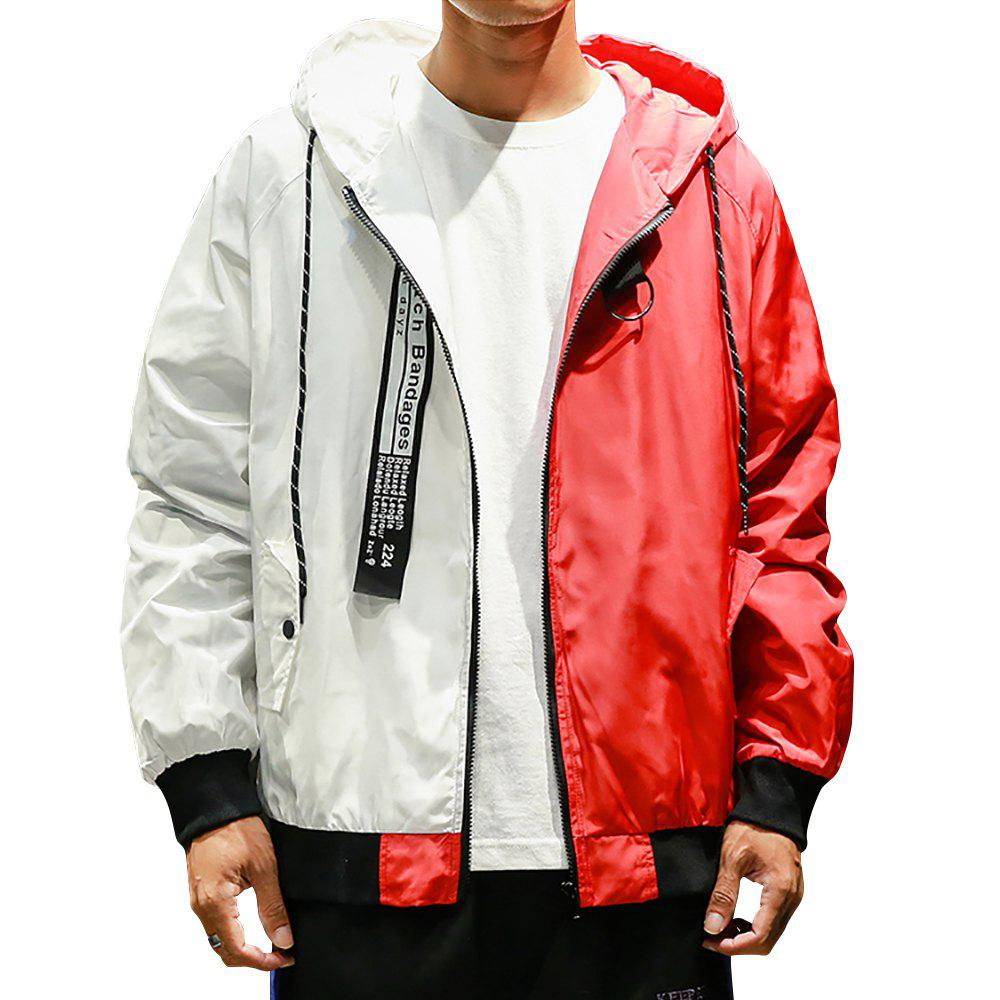 Fashion Men Hooded Colorblock Jacket