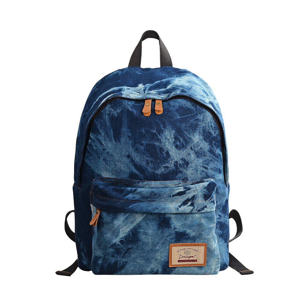 Douguyan Denim School Sac à dos Unisex Student Bookbags Casual Laptop Bag