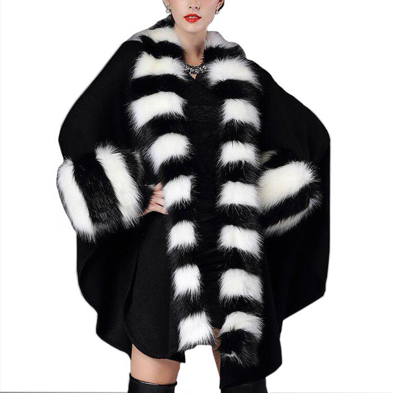 4462684ecd 33% OFF] Women's Fashion Black And White Stripes Faux Fur Shawl Coat ...