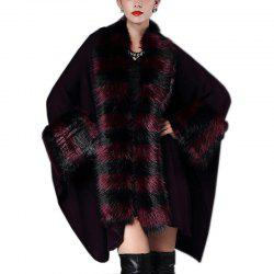 Women's Fashion Loose Stripes Faux Fur Shawl Coat -