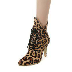 Autumn  Leopard Print Boots And Hight Heel Short Boots -