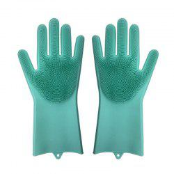 A Pair Magic Silicone Scrubber Rubber Cleaning Gloves Kitchen Helper -