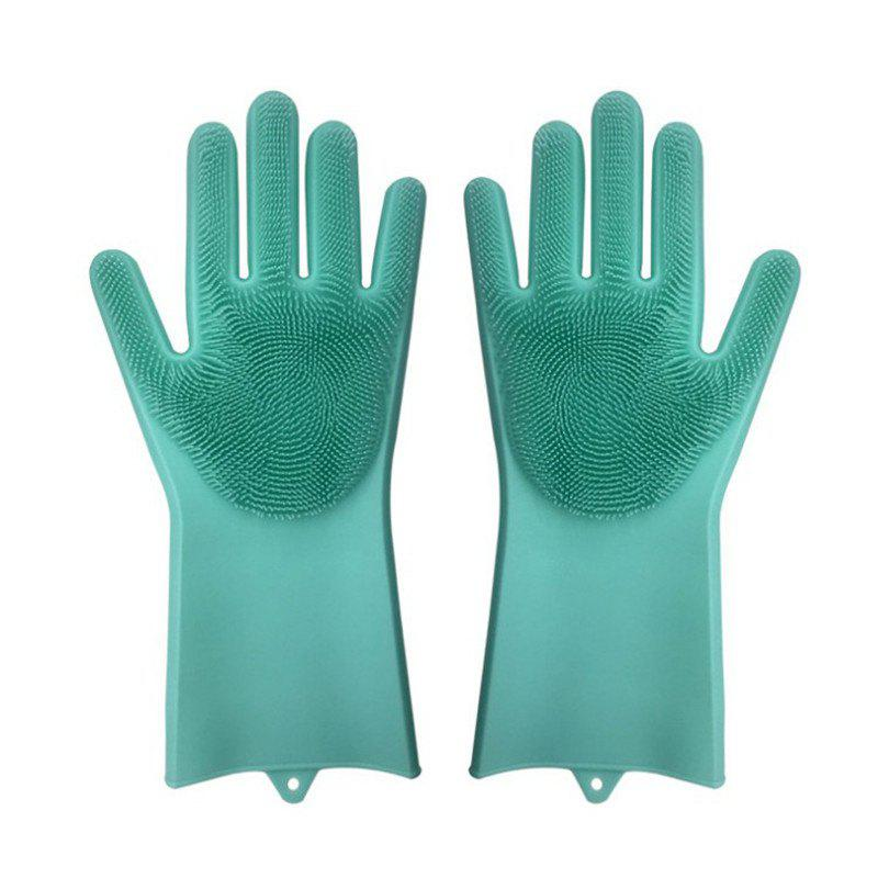 Outfit A Pair Magic Silicone Scrubber Rubber Cleaning Gloves Kitchen Helper