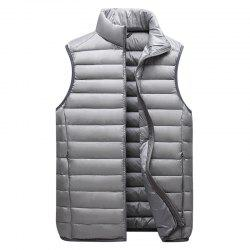 Men Vest Jacket Fashion Slim Sleeveless Quilted Solid Color Zipper -