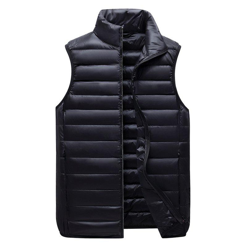 Fashion Men Vest Jacket Fashion Slim Sleeveless Quilted Solid Color Zipper