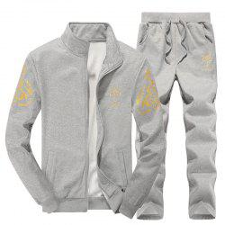 Men Active Tracksuit 2Pcs Solid Color Zipper Active Tracksuit -