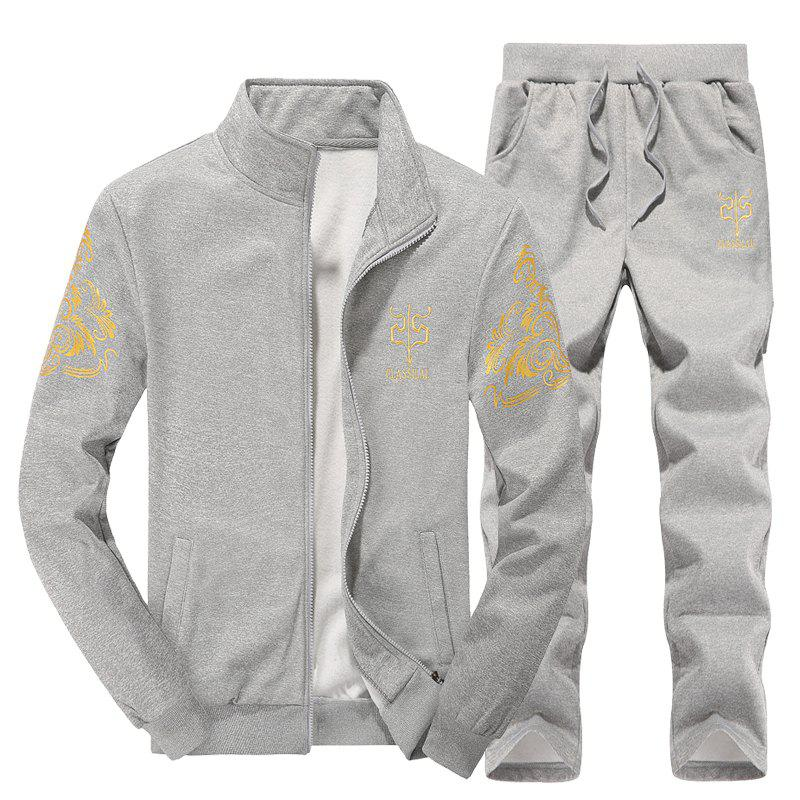 Shop Men Active Tracksuit 2Pcs Solid Color Zipper Active Tracksuit