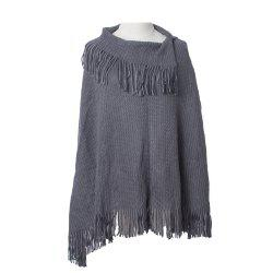 Comfortable and Soft Lady's Knitted Cloak with Fringes -