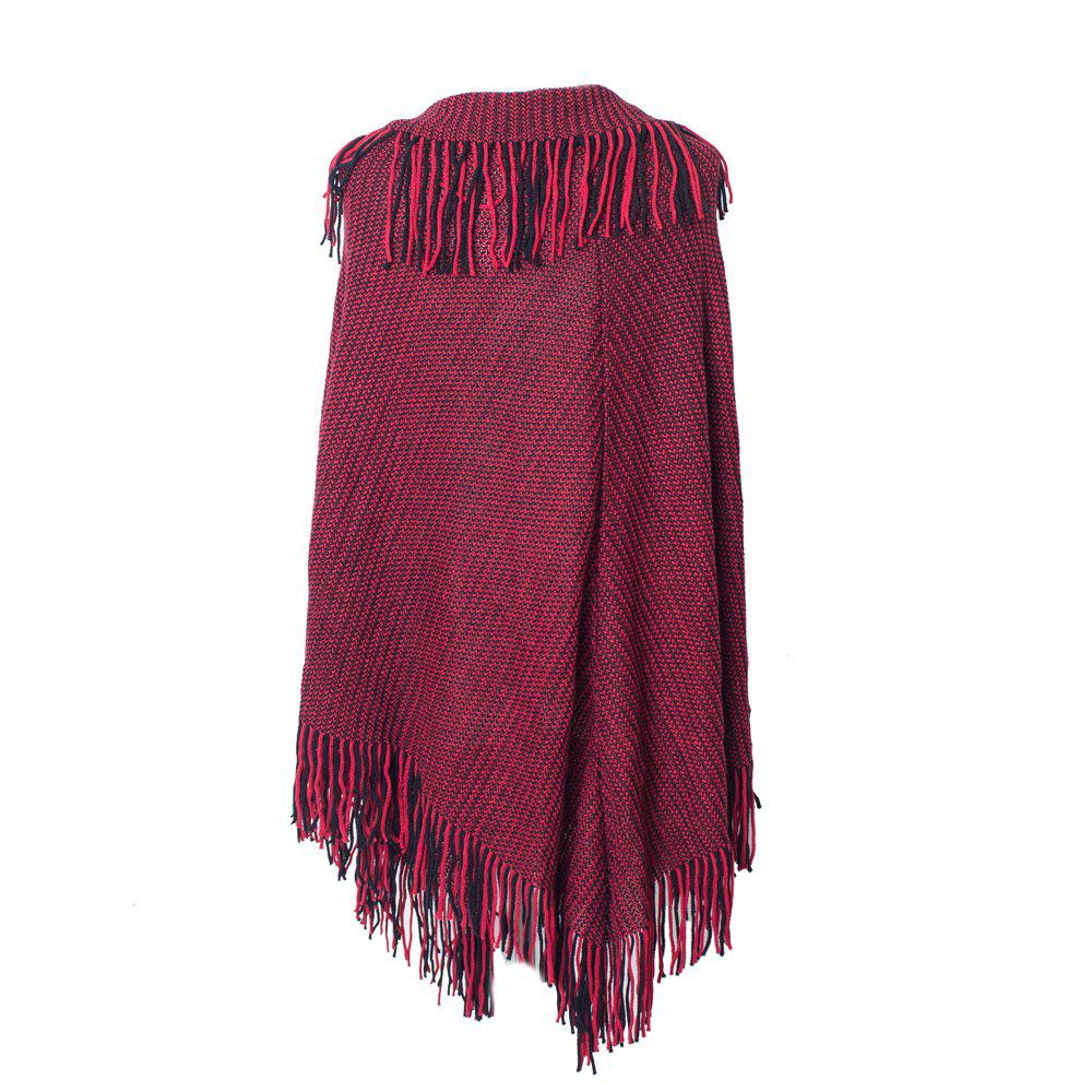 Cheap Comfortable and Soft Lady's Knitted Cloak with Fringes