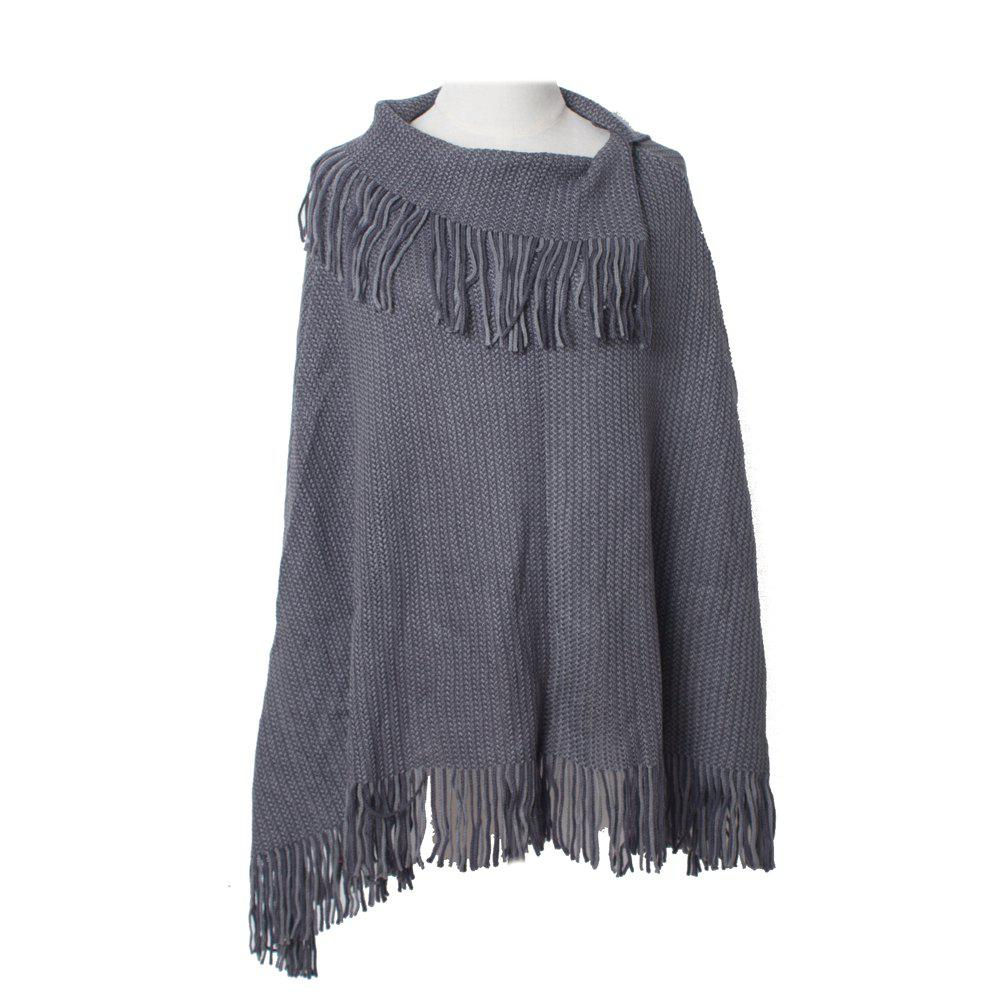 Affordable Comfortable and Soft Lady's Knitted Cloak with Fringes