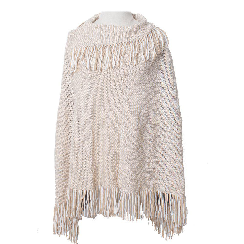 Fashion Comfortable and Soft Lady's Knitted Cloak with Fringes