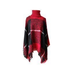 Tall Dress Collar with Plaid Lady's Scarf -