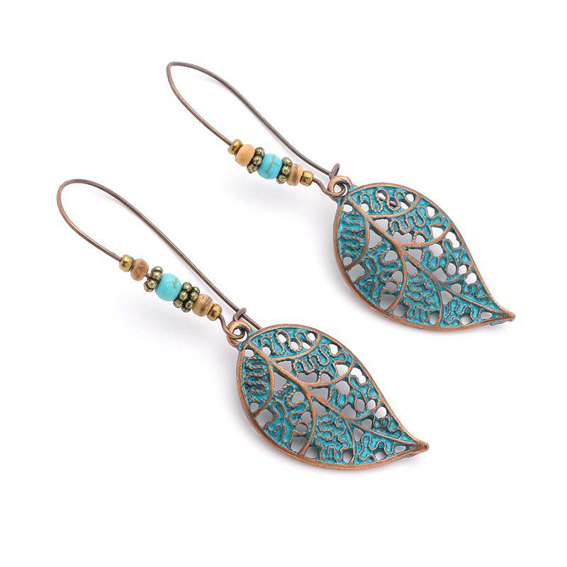 Discount Exaggerated Vintage Hollowed-Out Leaves and Beads Dangling Earrings