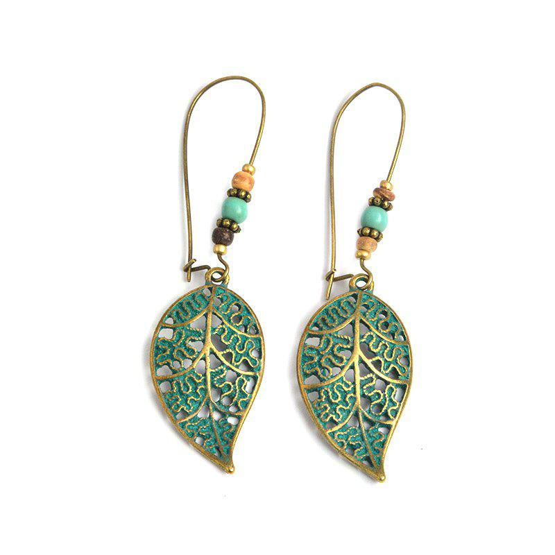 Cheap Exaggerated Vintage Hollowed-Out Leaves and Beads Dangling Earrings