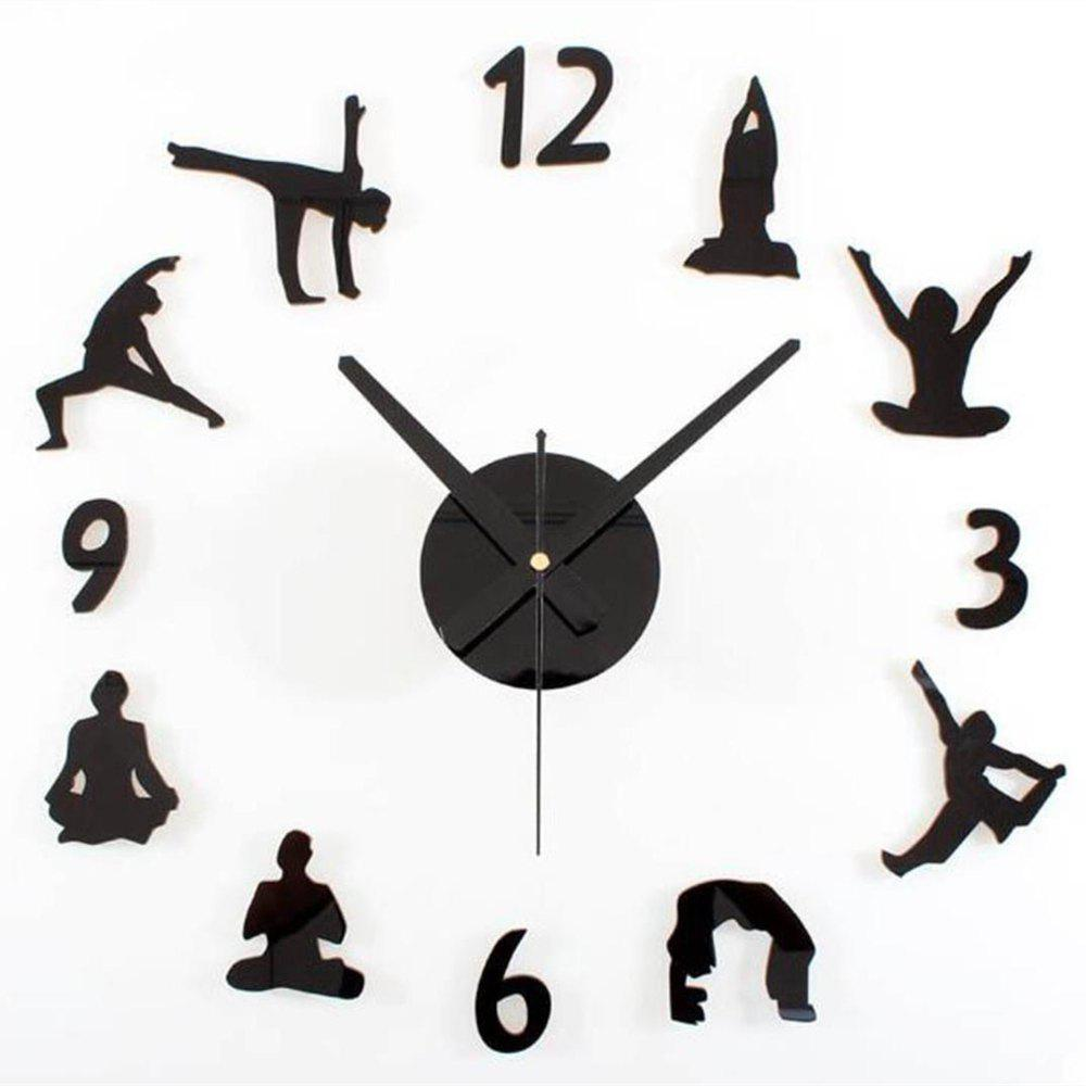 Online Creative Yoga DIY Acrylic Mute Home Wall Clock