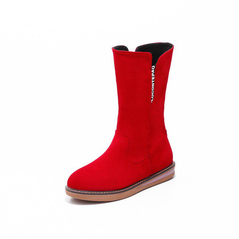 Best Flat Heel Frosted Red Casual Snow Boots