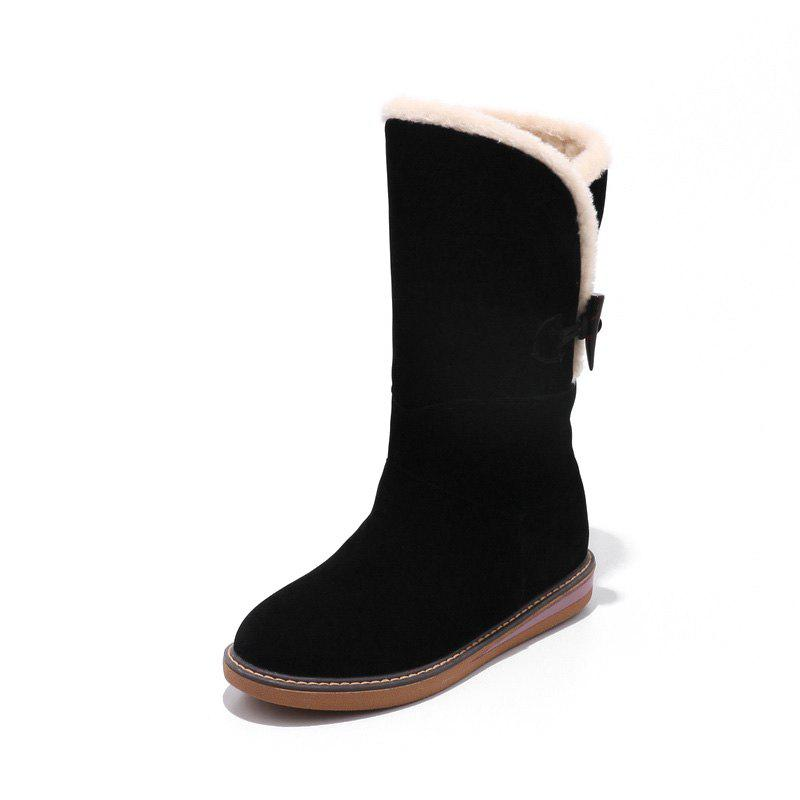 Trendy Frosted Buckle Zipped Warm Comfortable Flat Heel Snow Boots