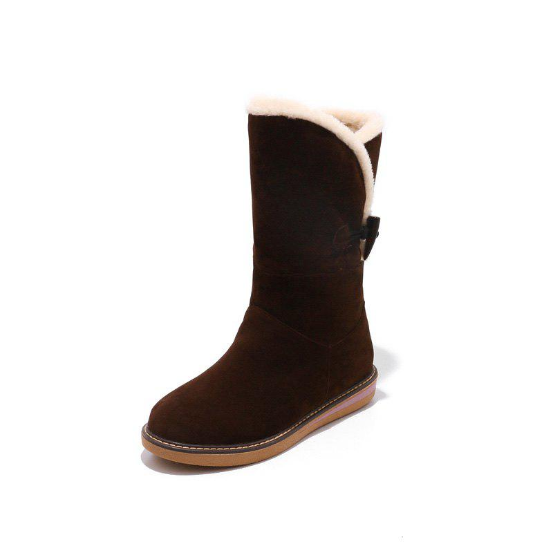 Affordable Frosted Buckle Zipped Warm Comfortable Flat Heel Snow Boots