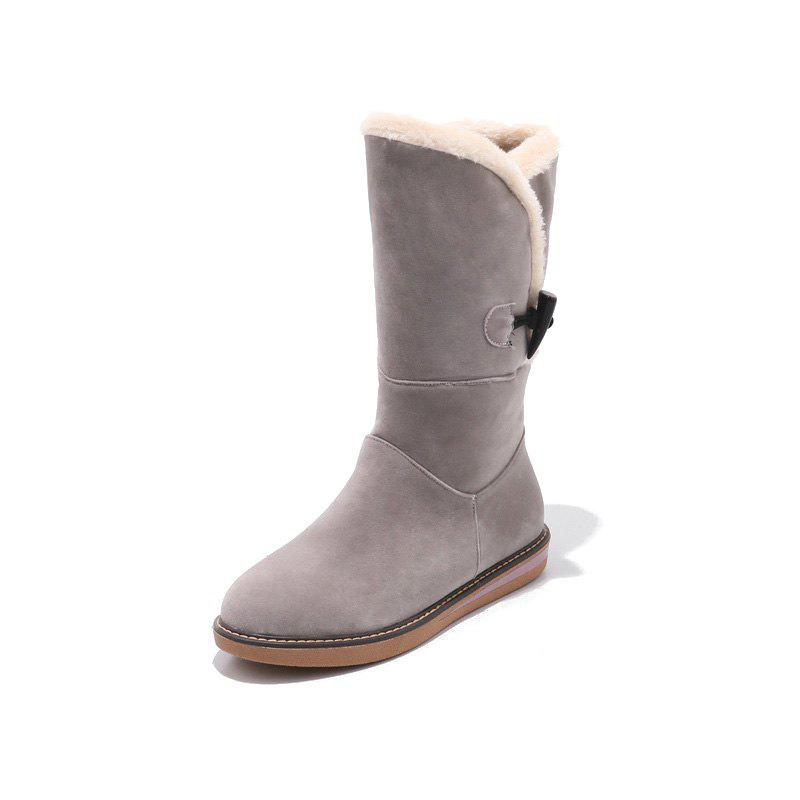 Buy Frosted Buckle Zipped Warm Comfortable Flat Heel Snow Boots