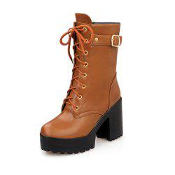 Coarse High Heel Zipper Rome Style Boots -