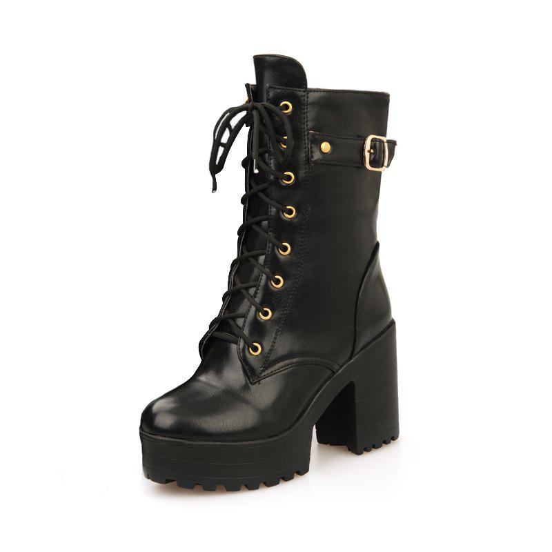 Cheap Coarse High Heel Zipper Rome Style Boots