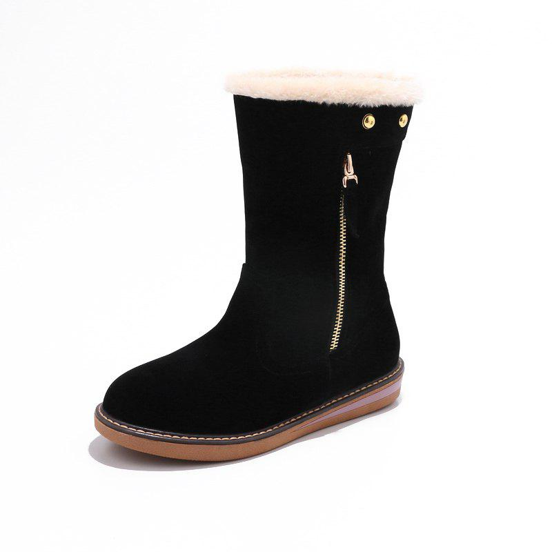 Outfits Warm Flat and Zipper Feet Students Comfortable Medium Tube Snow Boots