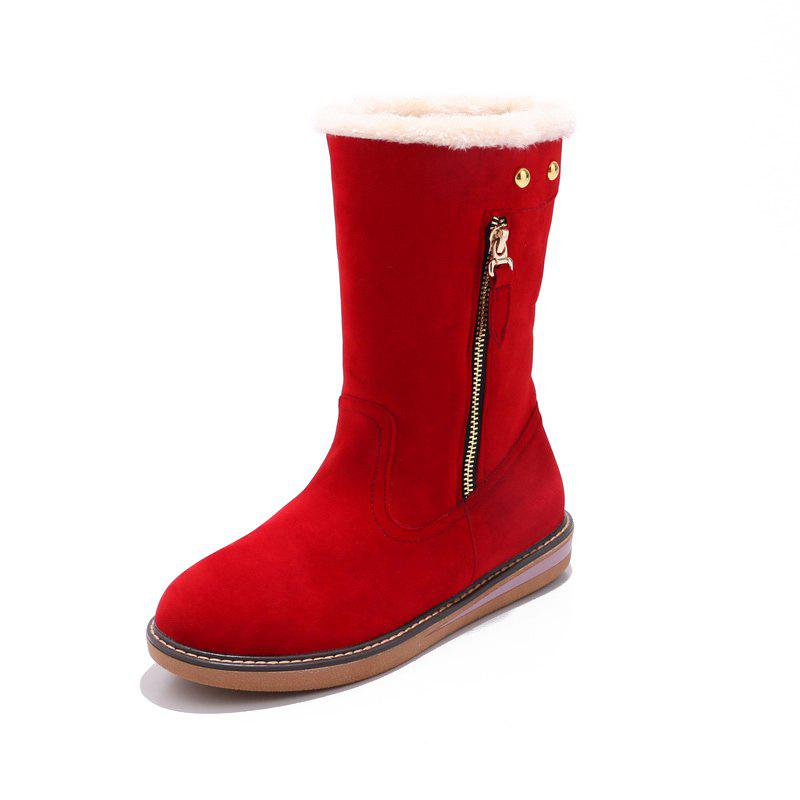 Affordable Warm Flat and Zipper Feet Students Comfortable Medium Tube Snow Boots