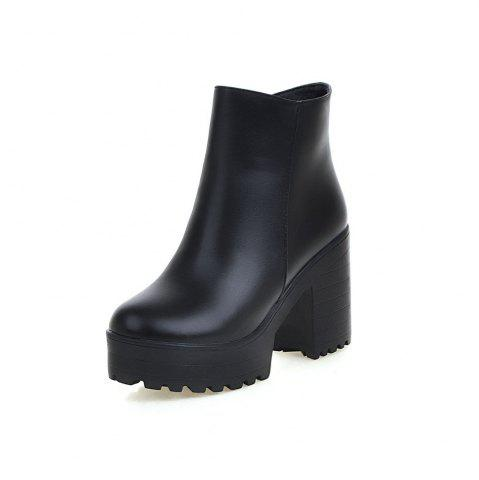Chunky High Heel Thick Bottom Zipper Ankle Boots for Ladies