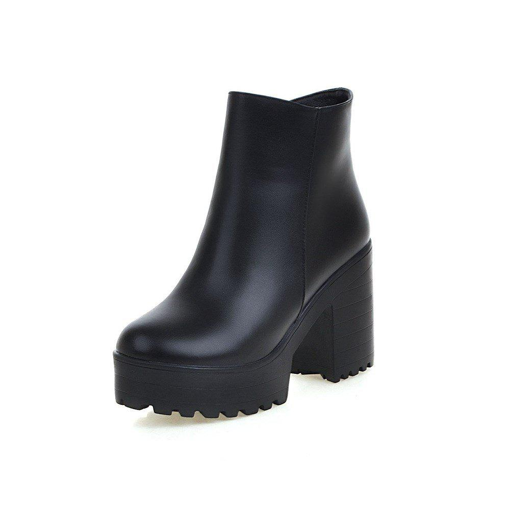 Hot Chunky High Heel Thick Bottom Zipper Ankle Boots for Ladies
