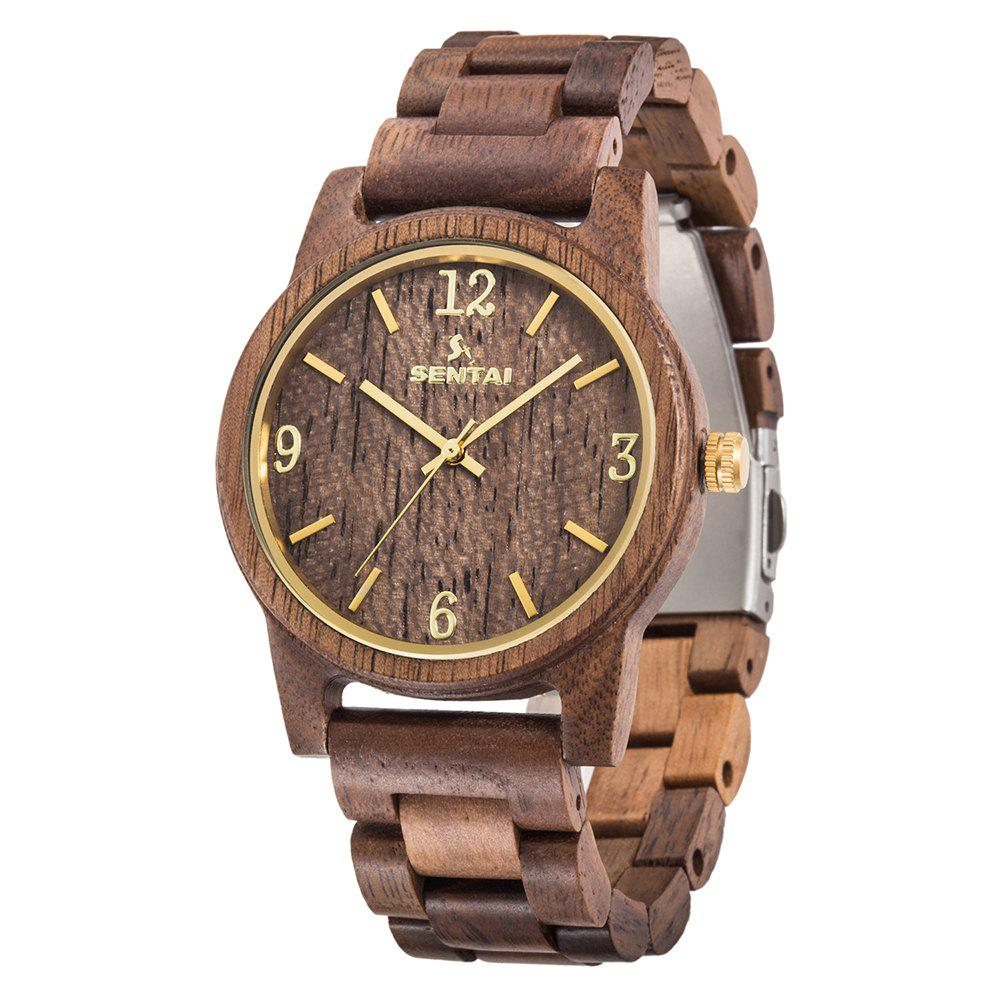 Outfit Men's and Women's Wooden Watches Sentai Handmade Vintage Quartz Natural Gift Set