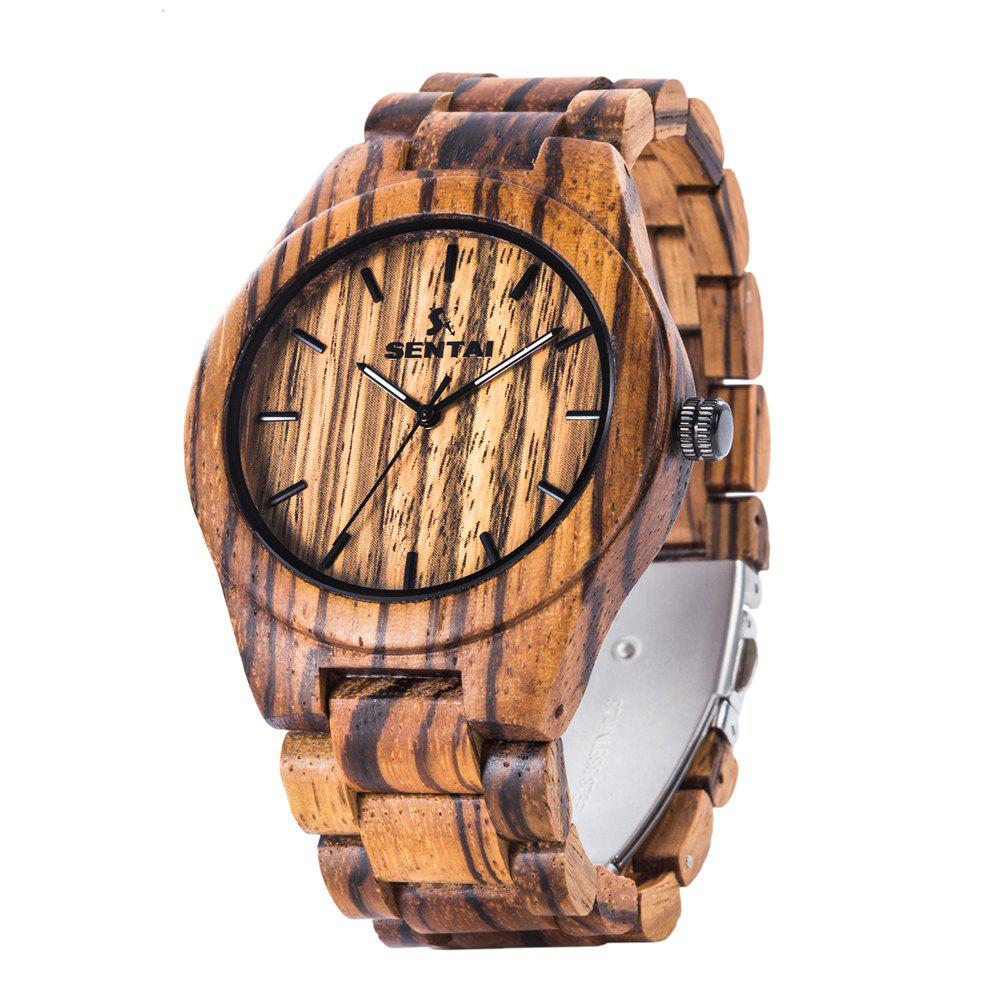 Montre à la main en bois naturel à la mode de quartz