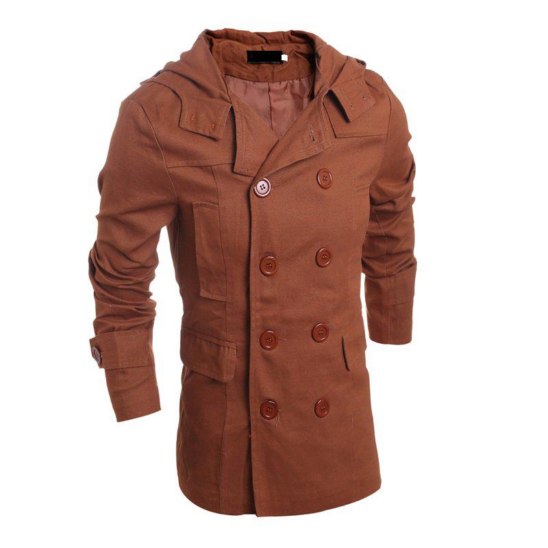 Chic Men's Fashion Double Breasted Casual Hooded Luxury Jacket