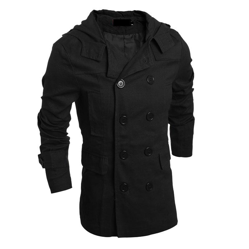 Shop Men's Fashion Double Breasted Casual Hooded Luxury Jacket