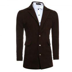 Men's Casual Single Breasted Design Medium Long Wool Windbreaker Jacket -