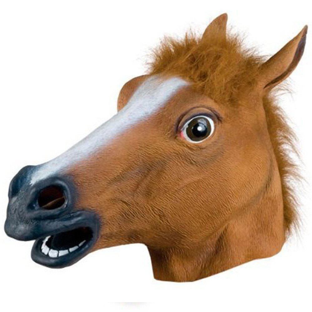 Cheap Full Face Halloween Horse Mask Head Latex Brown Costume Theater Prop Party
