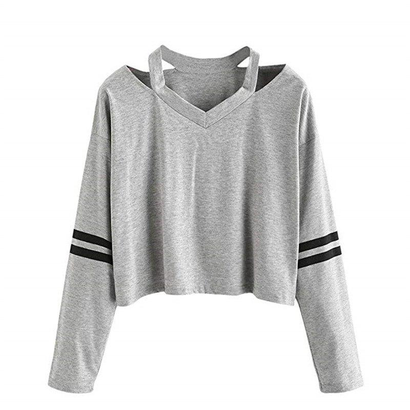 47c02c44af94f Outfits Women Teen Girls Tops Hoodie Sweatshirt Striped Crop Tops Long  Sleeve V Neck Cau