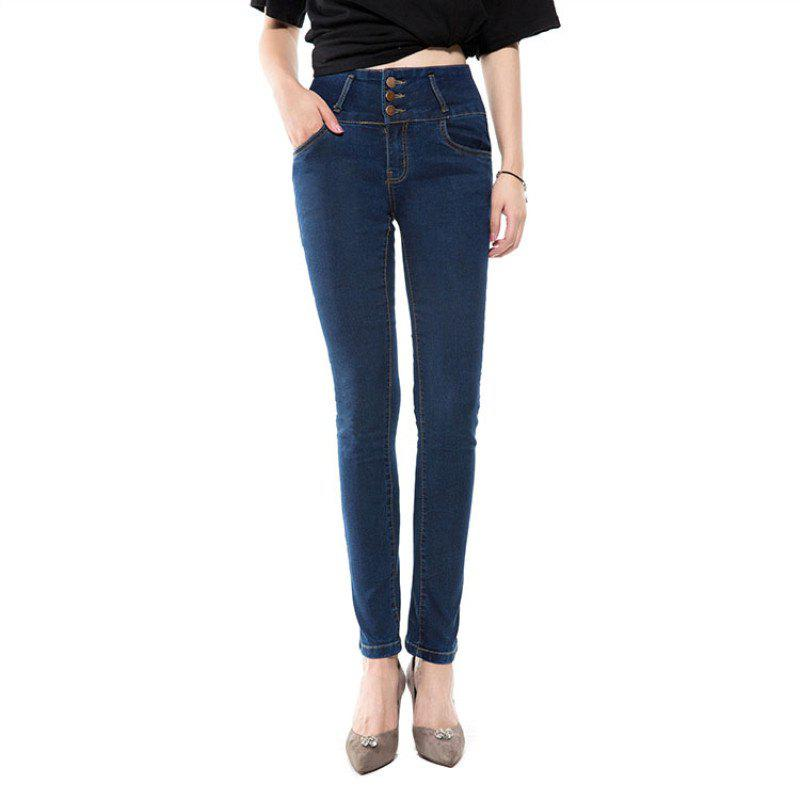Outfit Trousers Jeans Women Spring and Autumn Deep Blue High Waist Body Repair