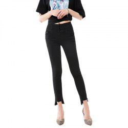 Jeans Nine Spring and Autumn The New Version Is Thin Mid Waist Jeans Black -