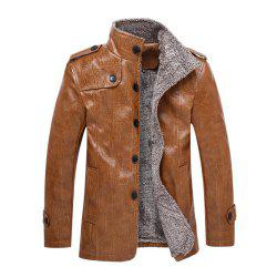 Autumn and Winter Men'S Windbreaker Jacket Large Size Leather Jacket Fur One Lea -