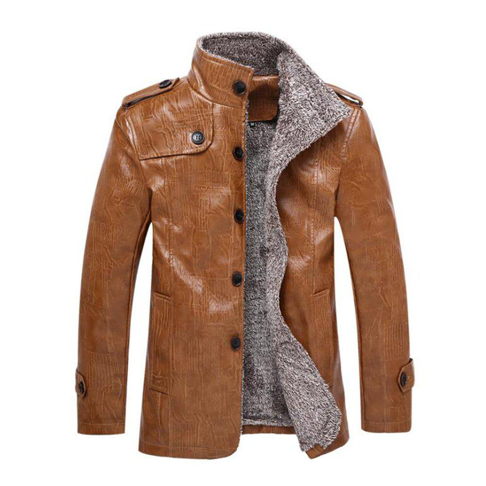 Hot Autumn and Winter Men'S Windbreaker Jacket Large Size Leather Jacket Fur One Lea