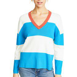 Plus V-Neck Hit-Knit Stitching Sweater -
