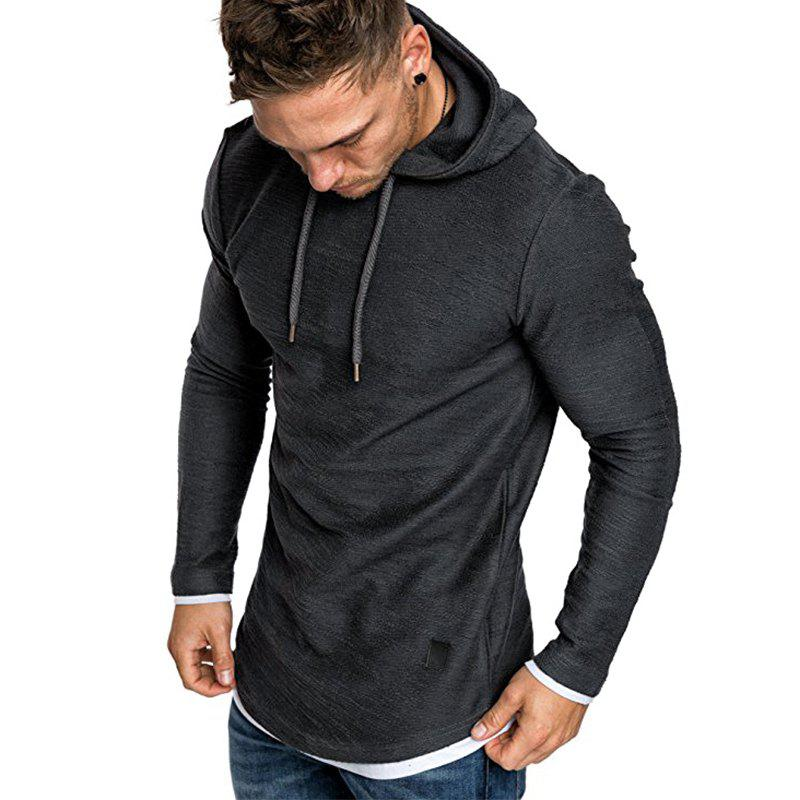 Cheap Men's Fashion Camouflage Stitching Two-piece Hooded Casual Slim Sweater