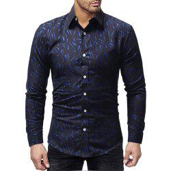 Men Casual Slim Solid Color Long Sleeve Print Shirt -