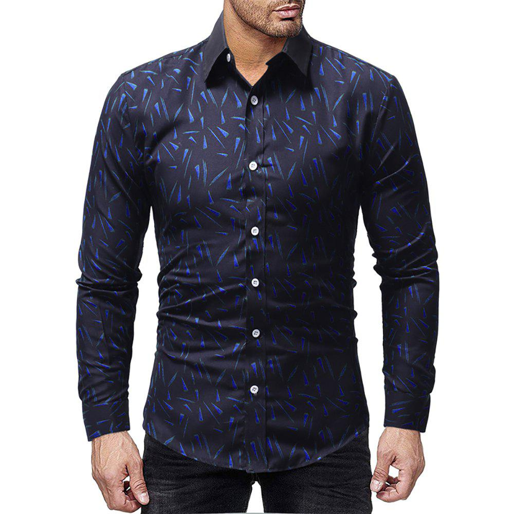 Buy Men Casual Slim Solid Color Long Sleeve Print Shirt